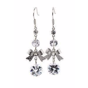 Fashion silver bow crystal earrings
